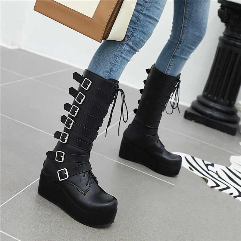 חורף מגפי פאנק נשים אמצע עגל נעלי פלטפורמת מגפיים שחור אבזם רצועת תחרה עד Creeper טריזים נעליים צבאי נעליים צבאיות