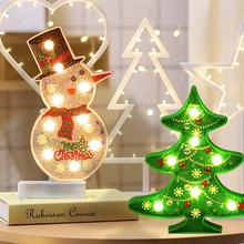 Christmas Decoration Snowman Tree DIY Special Shape Brick 5D Diamond Painting Modeling LED Lamp Decorative Night Light