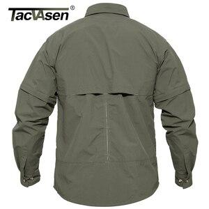 Image 5 - TACVASEN גברים של בגדים צבאיים קל צבא חולצה מהיר יבש טקטי חולצה קיץ נשלף ארוך שרוול עבודה האנט חולצות