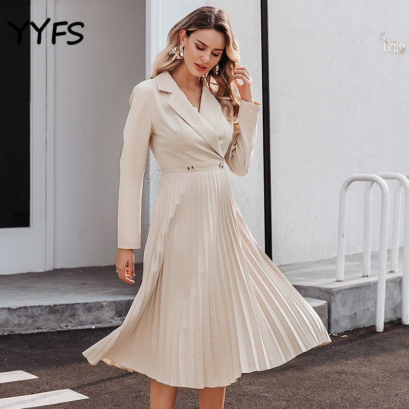 Suit Dress Elegant Pleated Women Office Solid Breasted Ladies Blazer Dress Autumn Winter Long Sleeve Chic Female Party Dresses