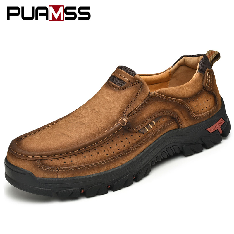 Image 2 - Men Casual Shoes Sneakers 2019 New High Quality Vintage 100% Genuine Leather Shoes Men Cow Leather Flats Leather Shoes Men-in Men's Casual Shoes from Shoes
