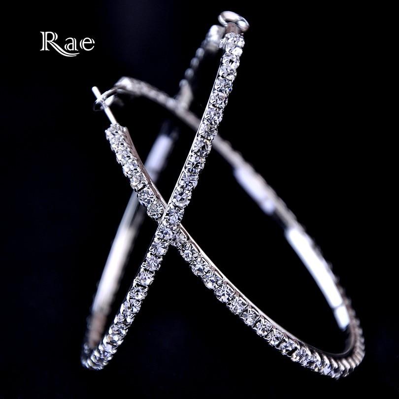 30-100mm Fashion Hoops Earrings With Rhinestone Circle Crystal Earrings Big Basketball Wives CZ Hiphop Earrings Women