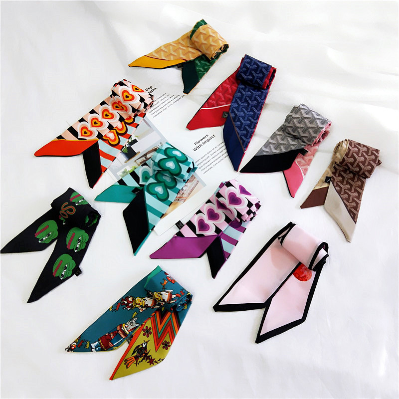 New Multi-functional Printed Small Scarf Women's Scarf Tied Bag Handle Silk Scarf Ribbon Women Decorative Headscarf Fashion
