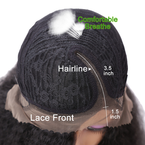 Image 5 - 24 インチ変態ストレート合成レースの前部かつらロングふわふわ毛ウィッグ黒人女性 150% 密度耐熱毛万博市