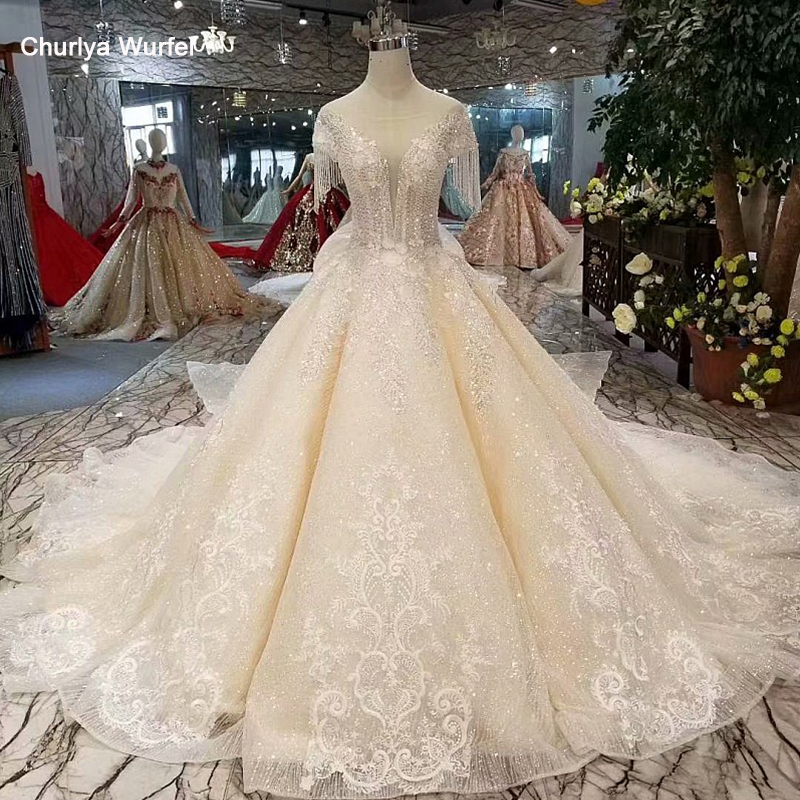 LSS535 Princess Wedding Dresses Capped Sleeves O Neck Appliques Tassel Bride Dress With Detachable Train Vestido Casamento Civil