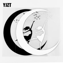 YJZT 13.5 × 14.2CM belle étoile lune voiture autocollant fenêtre décoration vinyle décalcomanies noir/argent 10A-0667