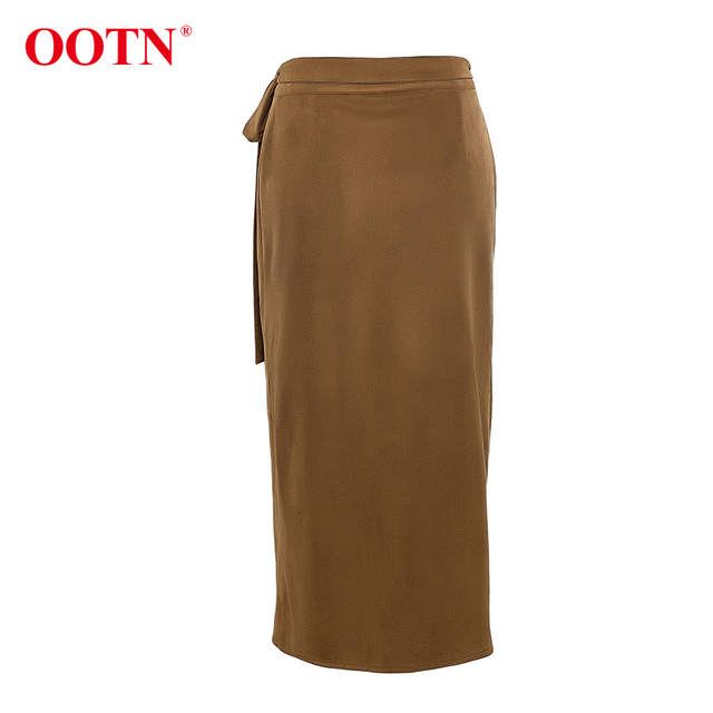 Khaki Suede Long Casual Wrap Lace Up High Waist Skirt Office 3