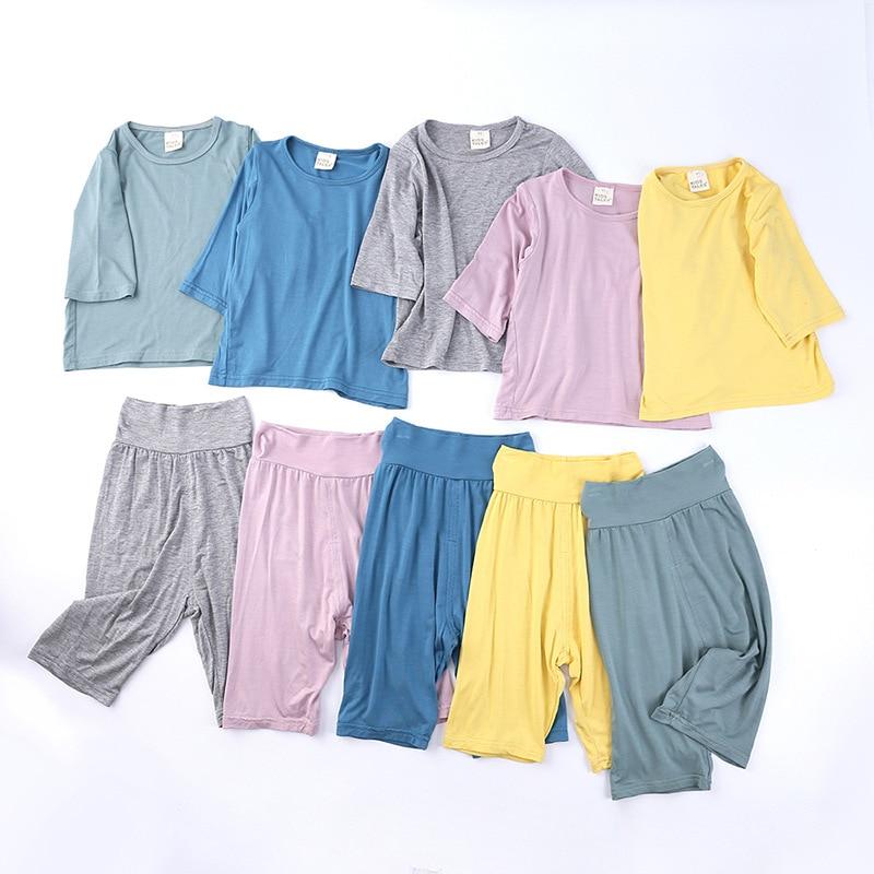 2Pcs/Set Modal Toddler Kids Nightgown Children Girl Boy Infant Casual Sleepwear Nightwear Home High Waist Warm Pajama Sets