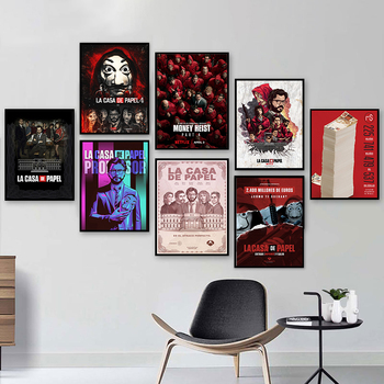 HD printing La Casa De Papel Money Heist Posters Classic Paper Movie Poster Art Wall Sticker Rome Home Decoration image