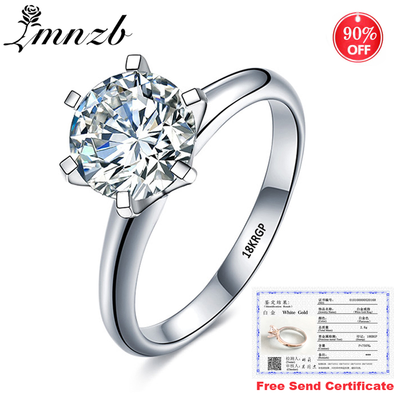 Sale at a loss! With Certificate Original 18K White Gold Ring Luxury 2.0ct Lab Diamond Wedding Band Women Silver 925 Ring LR168