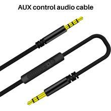 3.5mm jack cabo de áudio 1.2m estéreo aux plug cabos com microfone handsfree speakerphone in-line controle remoto para o telefone do carro