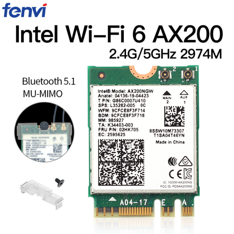 Dual Band Wireless M 2 Wifi6 Intel AX200 2974Mbps Bluetooth 5 1 802 11ax MU-MIMO NGFF Laptop WiFi Card AX200NGW Windows 10