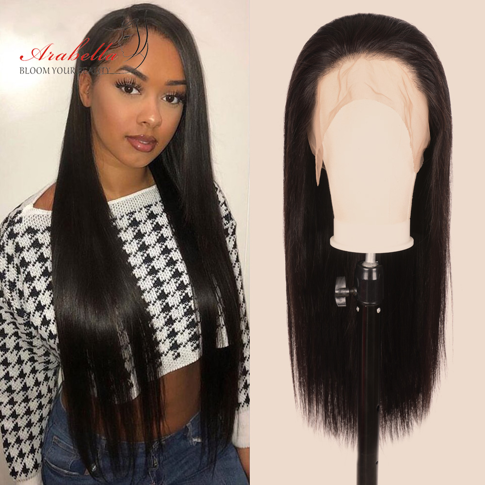 Straight Hair 360 Lace Frontal Wig 100%  Wigs PrePlucked Bleached Knots 180% Density Arabella  Hair Lace Front Wig 1