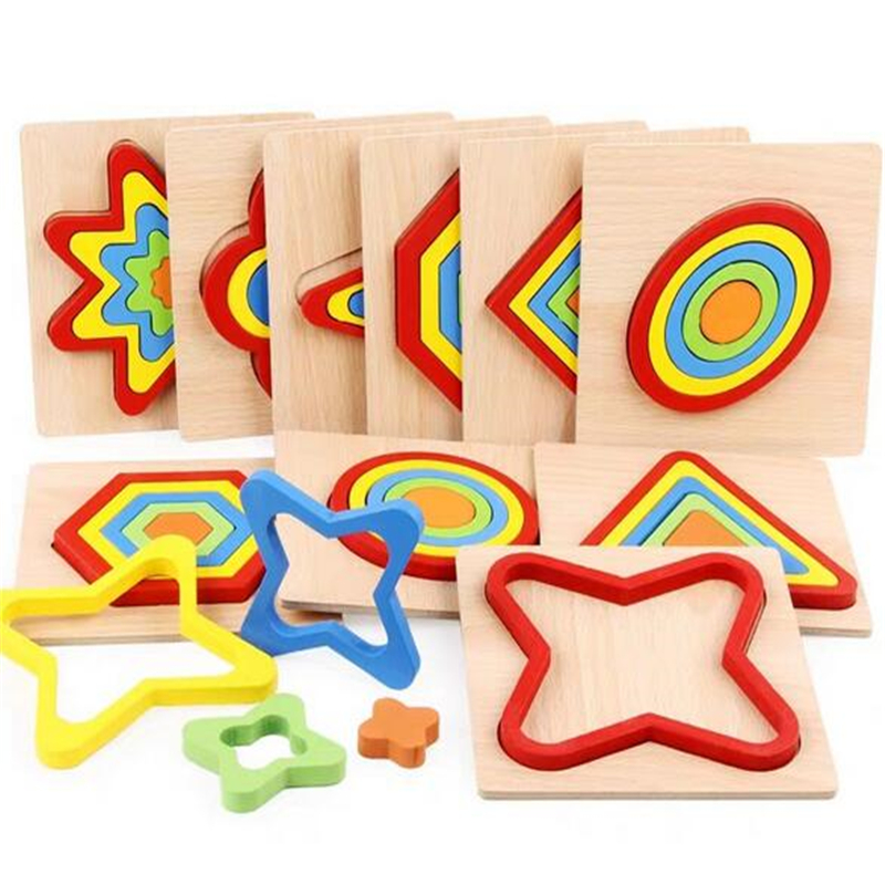 Shape Cognition Board Children's Jigsaw Puzzle Wooden Toys Kids Educational Toy Baby Montessori Learning Match Bricks Toys