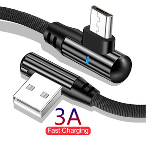 Micro USB Cable 90 Degree elbow Nylon Braided 0.25M 1m 2m Fast Charging Charger Data Cables For Samsung S7 Xiaomi Redmi Microusb