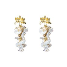 Natural Fresh Water Baroque Pearl Drop Earrings for Women Wedding Dangle Flower Earrings Handmade Jewelry(China)