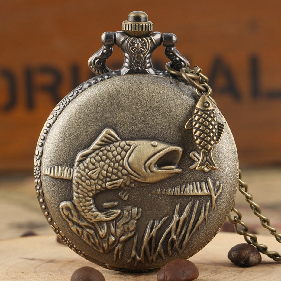 Unique Bronze Fishing Sculpture Pocket Watch Necklace Fob Chain Steampunk Clock Quartz Retro Pocket Watch Gifts + Fish Accessory
