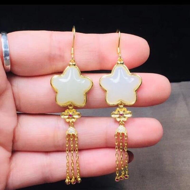 S925 pur naturel Hetian blanc Jade pentagramme forme gland chaîne dame haut de gamme boucles d'oreilles pour les femmes bijoux