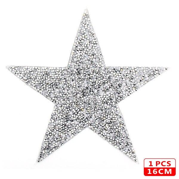 Стразы со звездами, смешанные размеры, нашивки, нашивки с вышивкой, термо-Стикеры для одежды, 5 видов цветов, блестки, нашивки для одежды, сделай сам - Цвет: 16cm Sliver 1pcs