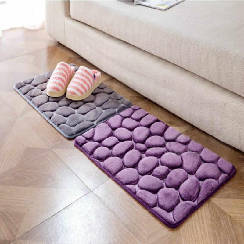 40*60CM de lana de Coral para baño, Kit de alfombra de espuma de memoria, alfombrillas antideslizantes para baño, juego de alfombrillas para decoración de baño