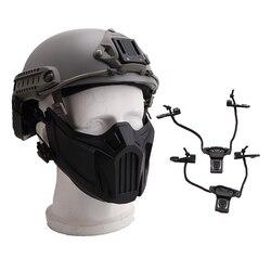 Tactical półmaska polowanie osłona ochronna maska pokrywa miękka odpinana odporna na wstrząsy ochrona słuchu Airsoft maska