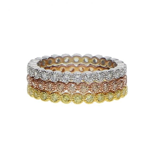 Трехцветные штабелируемые обручальные кольца с кубическим цирконием, набор обручальных колец с кубическим цирконием и кубическим цирконием в стиле вечности