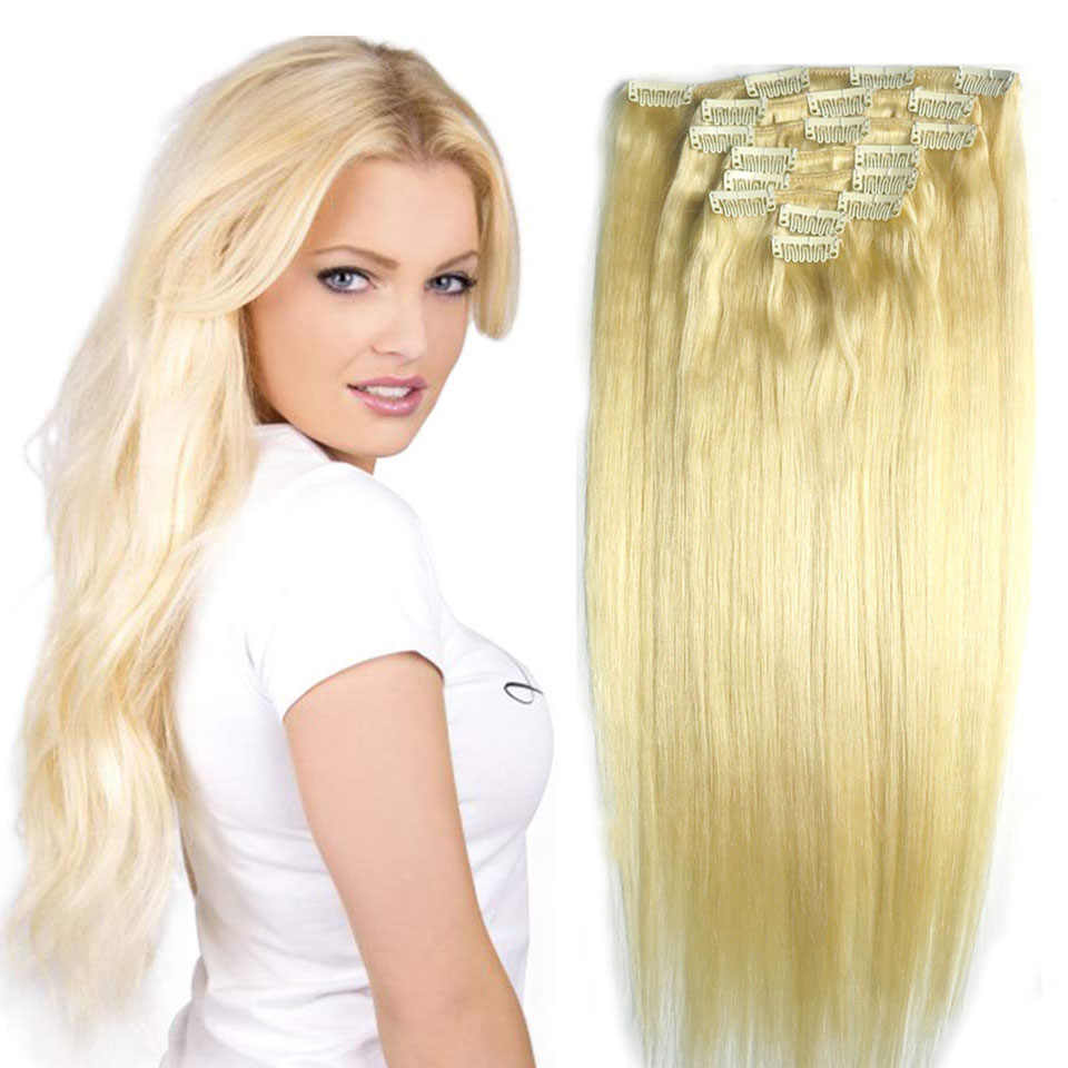 "Chocola Full Head Brazilian Machine Made Remy Hair 8pcs Set 100g 16""-24"" Natural Straight Clip In Human Hair Extensions"