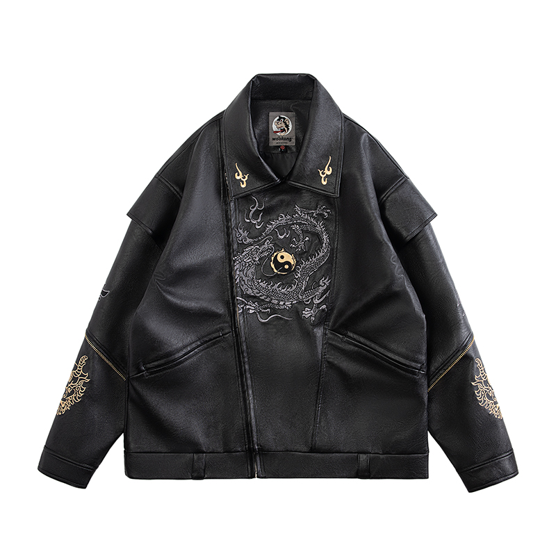 Winter Thin Men's Casual Long-sleeved Leather Jacket Stylish Solid Color Lapel Slim PU Leather Men's Jacket Black Punks Jacket
