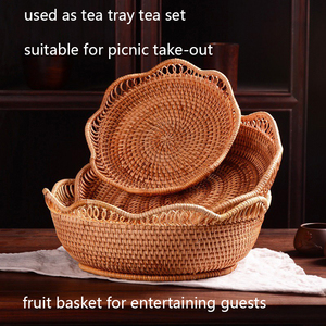 Image 2 - Handmade Natural Bamboo Weaving Wicker Basket Set Round Hollow Creative Storage Container For Fruit Food Bread Large Kitchenware