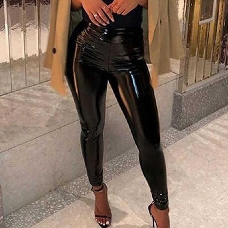 女性 Pu レザーパンツレギンス弾性ハイウエストの女性のレギンススリムフィットネス足首フェイクレザーパンツでセクシーなレギンス