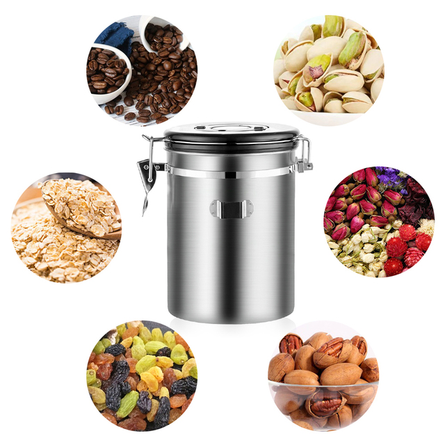Stainless Steel Airtight Sealed Canister With Spoon Coffee Flour Sugar Container Holder Can Storage Bottles Jars For Coffee Bean 6