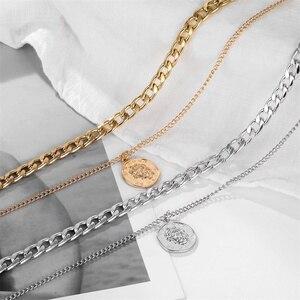 Punk Hiphop Kubanischen Dicke Kette Halsband Halskette für Frauen Retro Geschnitzt Münze Porträt Anhänger Halskette Charme Schmuck