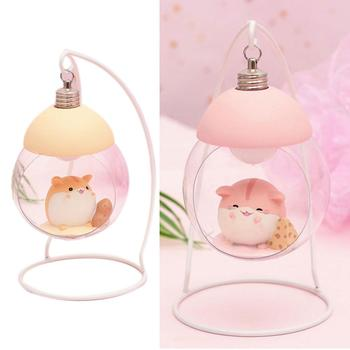 Lamp Hamster Night Light Resin Home Decoration Accessories Cartoon Mouse LED Animals Ornaments For Room Japanese Children Gift 11