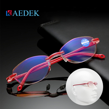 Red Fashion Ultralight Rimless Reading Glasses Women Men Clear Lens Anti-Blu-Ray Computer Glasses Presbyopia Reader Glasses zilead ultralight oversized frame reading glasses women men clear relieve fatigue lens anti radiation presbyopia reader glasses