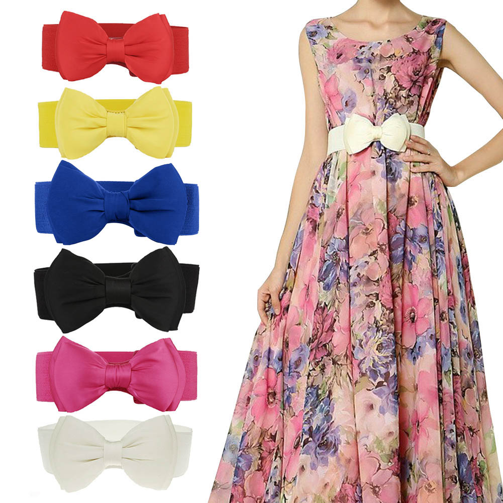 Fashion Womens Chiffon Bowknot Elastic Bow Wide Stretch Bukle Waistband Waist Belt GM