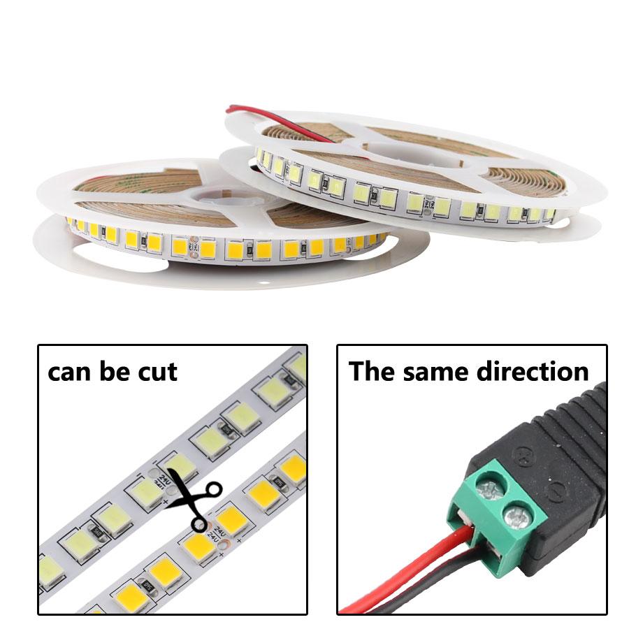DC 12V LED Diode Light 5054 5050 5M TV Backlight 12 V Volt Flexible LED Tape Light 120Led/M White / Warm White Leds Backlight TV