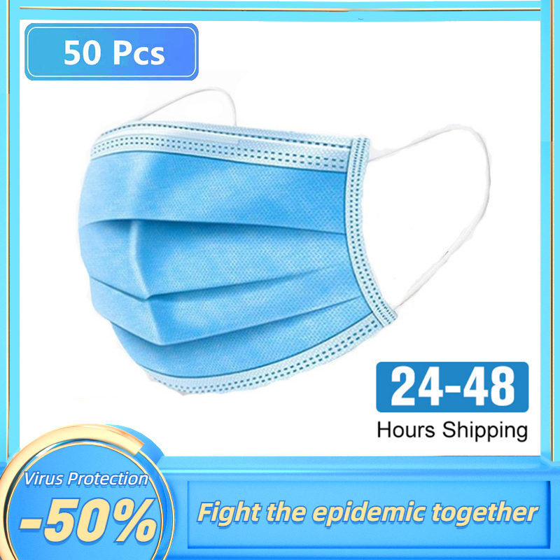 10-50Pcs Blue Disposable Coronavirus Face Mask NCP Anti Virus Germ Dust Safe Filter Breathable Mouth 3 Layer Earloop Masks Unise