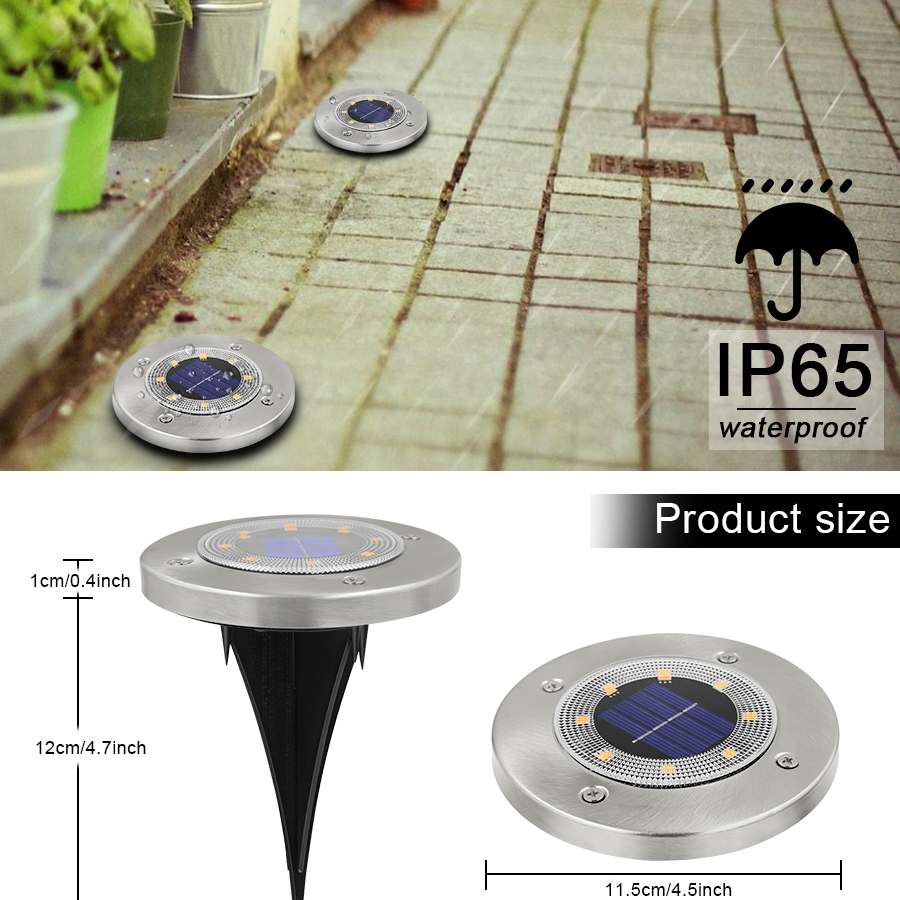 Round Shaped In Ground Solar Outdoor light with 8 LED and Infrared Light Sensor for Garden Pathway 9