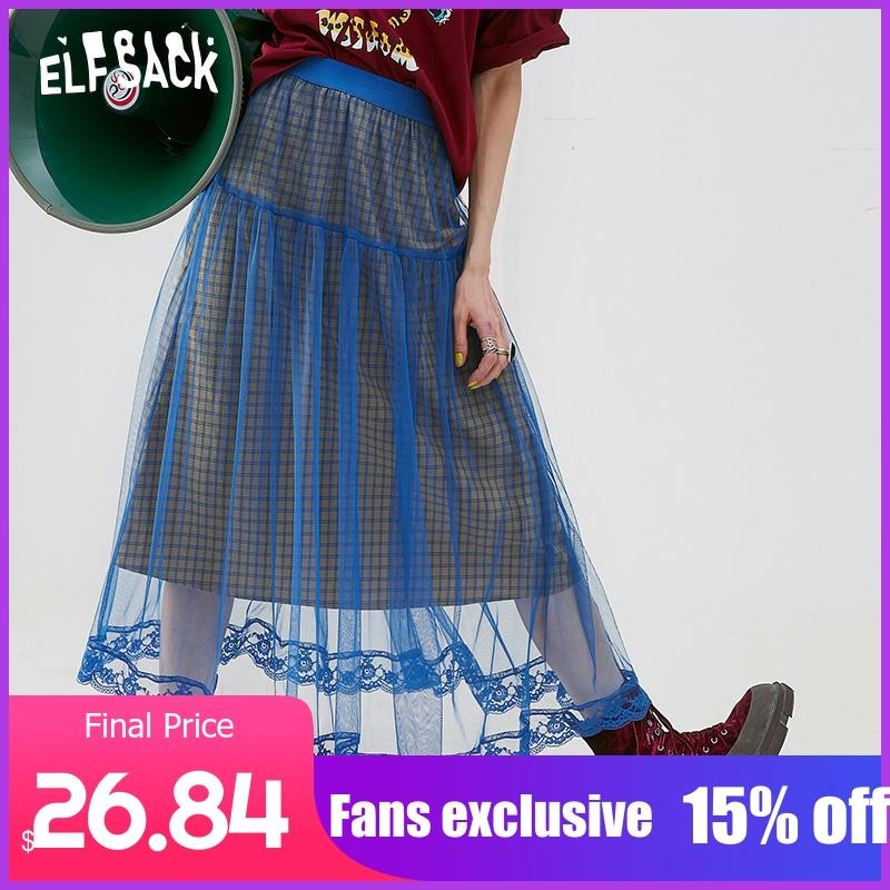ELFSACK Mesh Patchwork Women Skirt Vintage Plaid A-Line Female Skirts 2019 Summer Lace Blue Casual Woman Bottoms