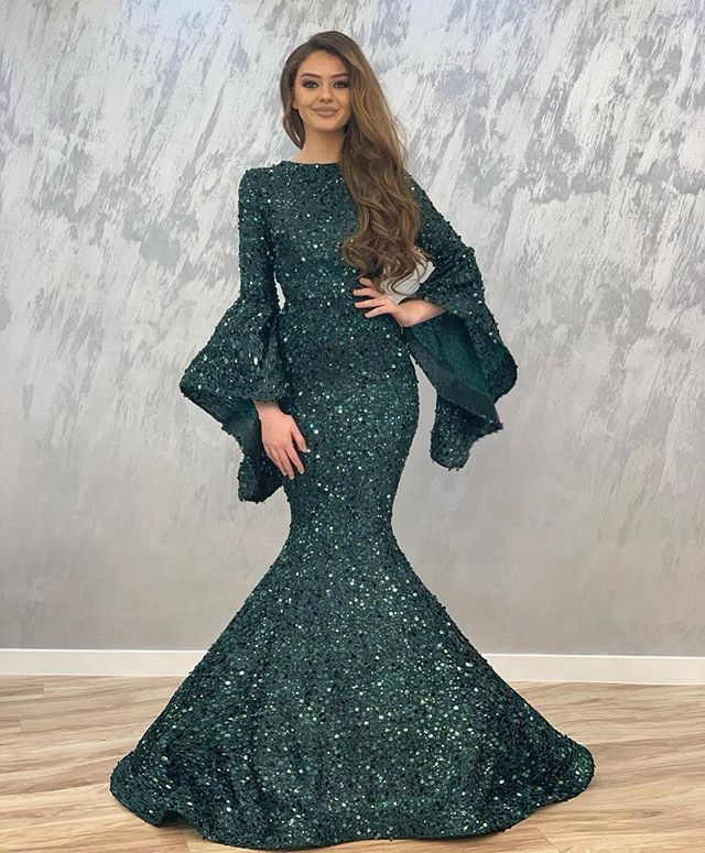 Dark Green Mermaid Evening Dress Shiny Sequin Long Sleeves Prom Gowns For Dubai Women Formal Wear Prom Gowns Vestido De Fiesta