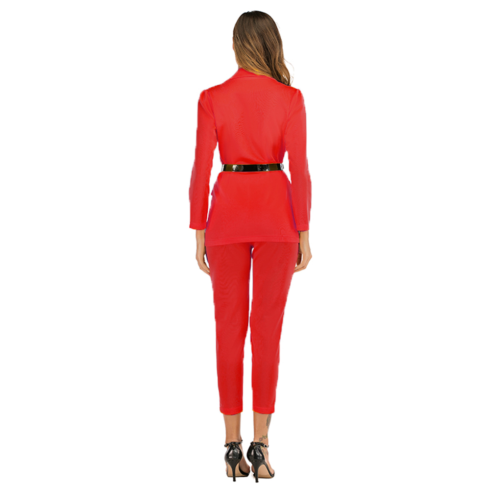 Elegant Blazers Two Piece Set Women 2020 Spring Notched Long Sleeve Double Breasted Blazers Coat+Pencil Pant Suit Office Outfits