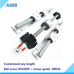 20mm liniowe szyny SBR20 L700/750/800mm z blok łożysko liniowe SBR20UU + SFU2005 śruba kulowa z BK15BF15 koniec maching dla routera