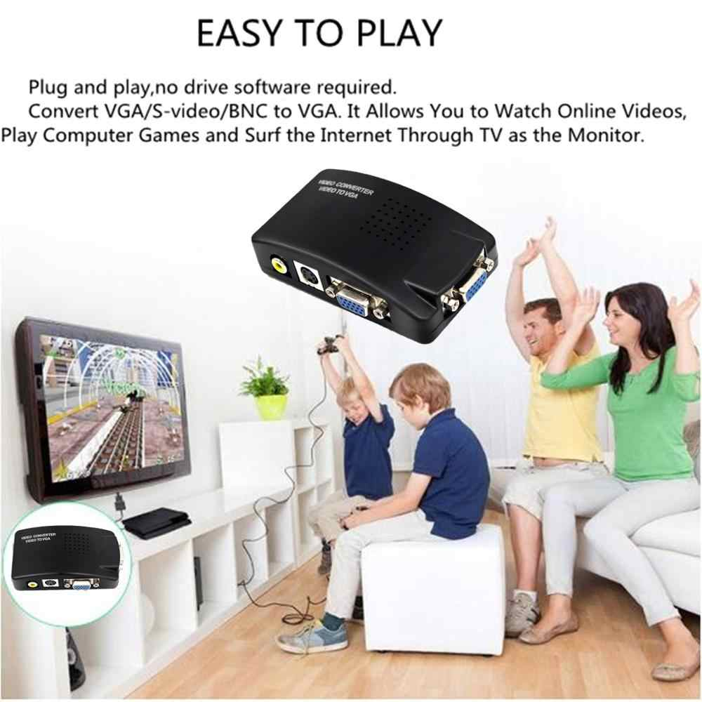 AV2VGA S-ビデオコンポジット RCA ビデオコンバータボックス AV RCA CVBS vga ビデオコンバータ Conversor のために PC HDTV Converte