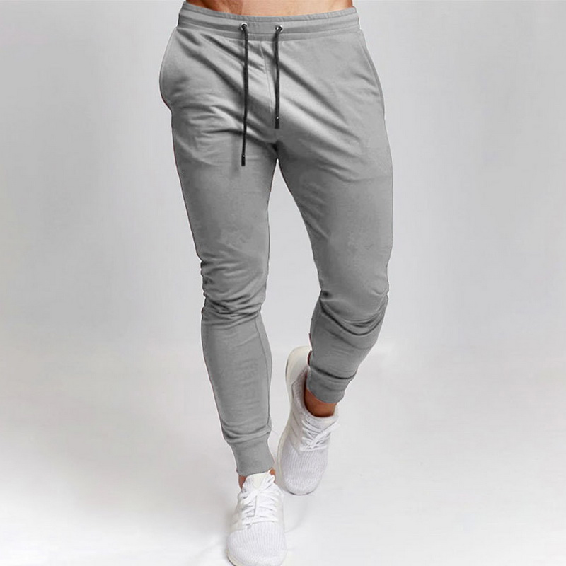 2020 New Mens Sports And Leisure Trousers Full Length Solid Color Versatile Running Drawstring Training Fitness Pants
