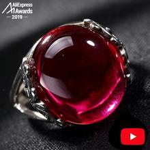 S925 خاتم متجر عتيق جميل 925 فضة المرأة اليدوية خمر الطبيعية أنا أحب أمي روبي الأحمر جاسبر
