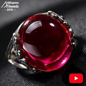 Image 1 - S925 Fine Antique shop Ring  925  Sterling Silver Women Handmade Vintage Natural I love mom ruby red jasper