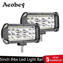 Aobey Barra de luz led de 8400 lúmenes para todoterreno, luz de trabajo, 2 uds., 5 pulgadas, 28 luces, 4x4, 4WD, ATV, UTV, SUV, 12V, 24V