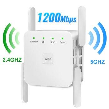 Repetidor Wifi inalámbrico 5G 2,4 5Ghz Wifi extensor 1200M amplificador de wifi de doble banda AC 4 antenas amplificador de Wifi wi-fi Punto de Acceso