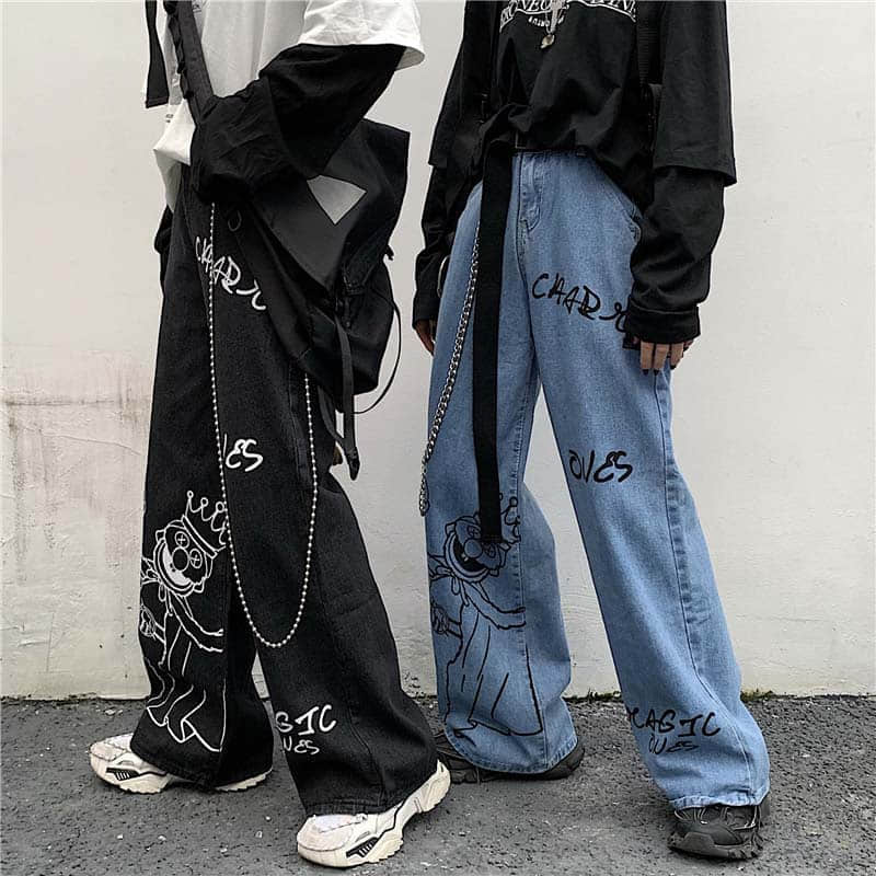 Trouser-Belt Leg-Pants Joggers Womens Drawstring Elastic-Waist Printed Retro Wide Straight
