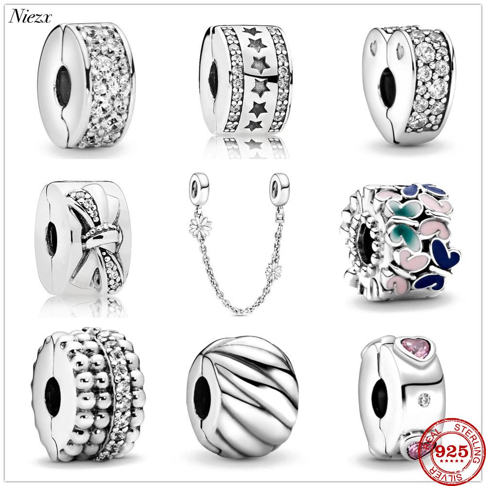 Fit Original Pandora Charms Bracelet 925 Sterling Silver White Zircon Clear Pavé Clip Charm Bead DIY Jewelry Making Berloque(China)